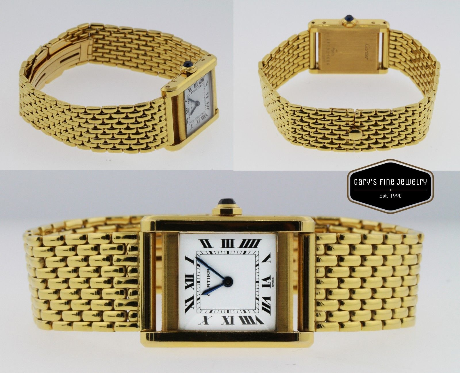 Cartier Tank 18K Solid Yellow Gold Vintage Unisex Watch Mesh Bracelet White Dial