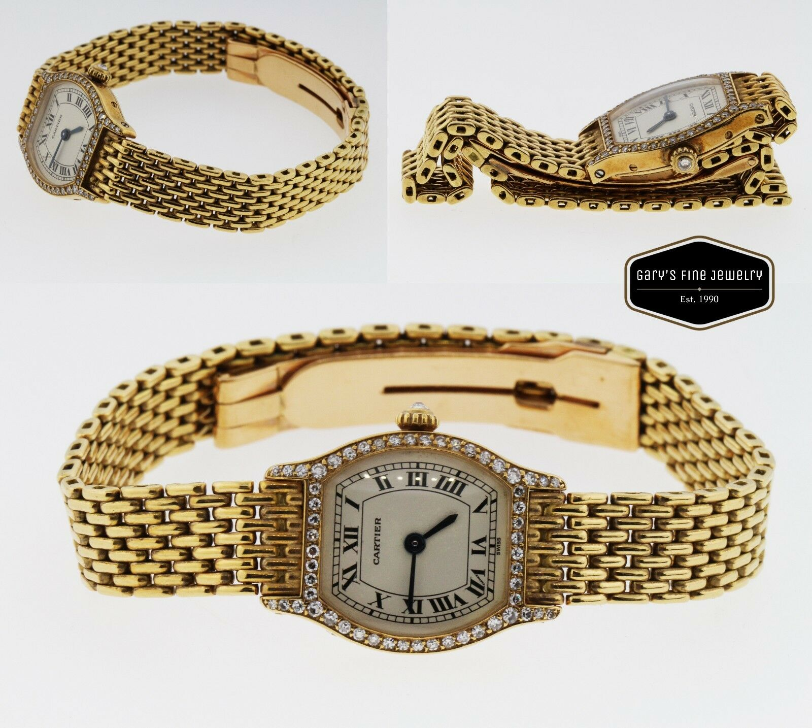 Cartier Tortue Paris 18K Yellow Gold & Diamond Ladies' Watch 156786 26MM - W3433