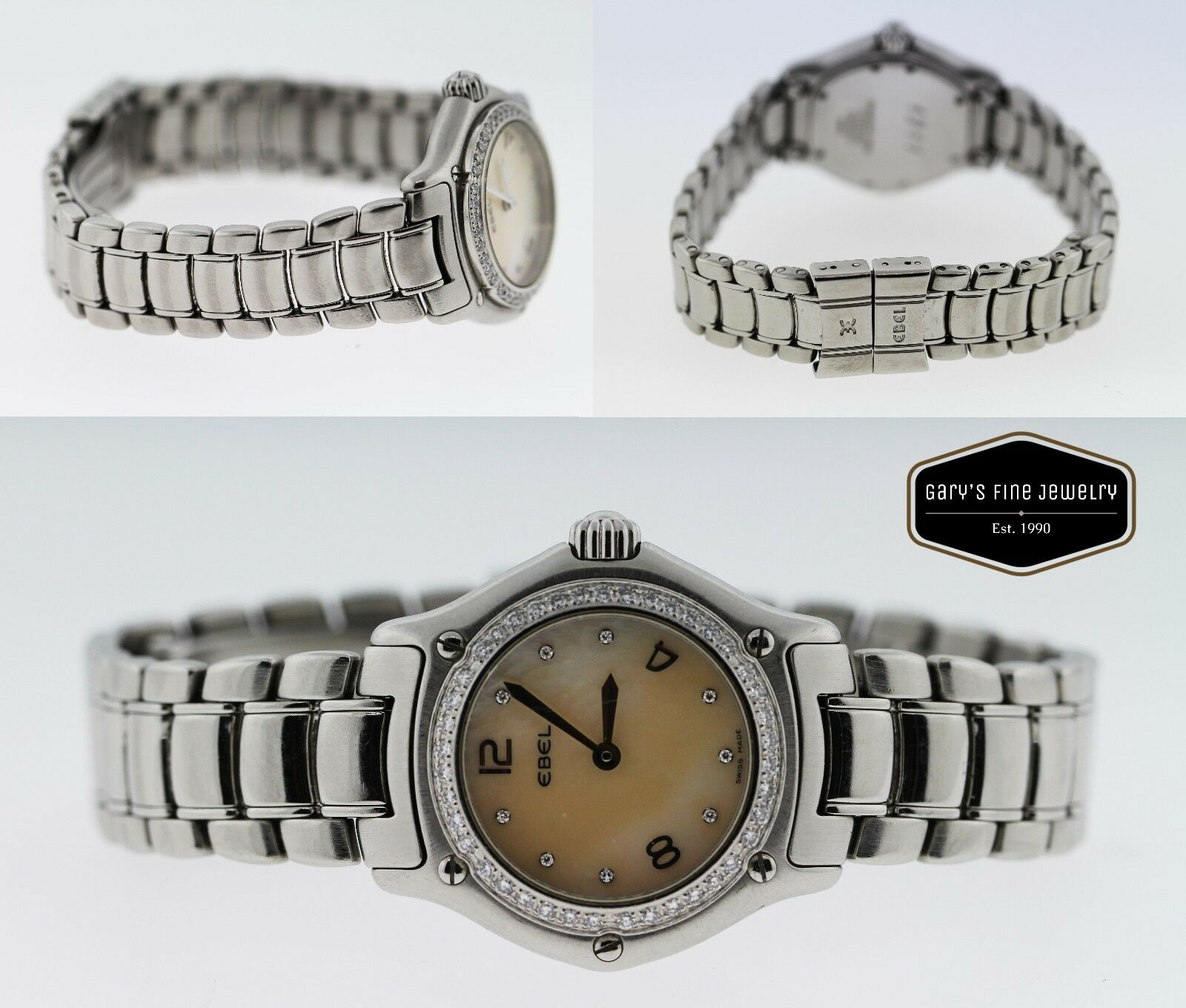 Ebel 1911 Diamond Bezel & Diamond Mother of Pearl Dial, Stainless Steel Watch