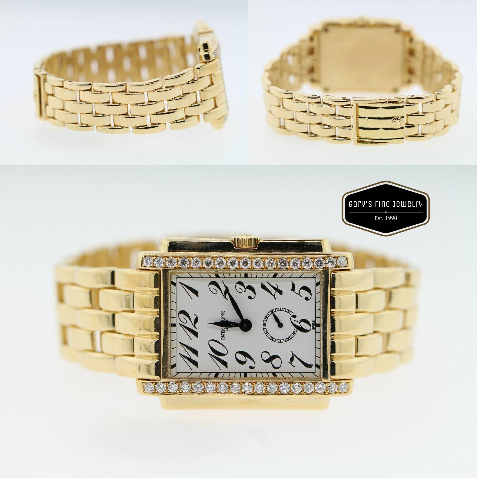 Patek Philippe Gondolo Unisex 18K Yellow Gold 1CT Diamond Bezel Quartz Watch
