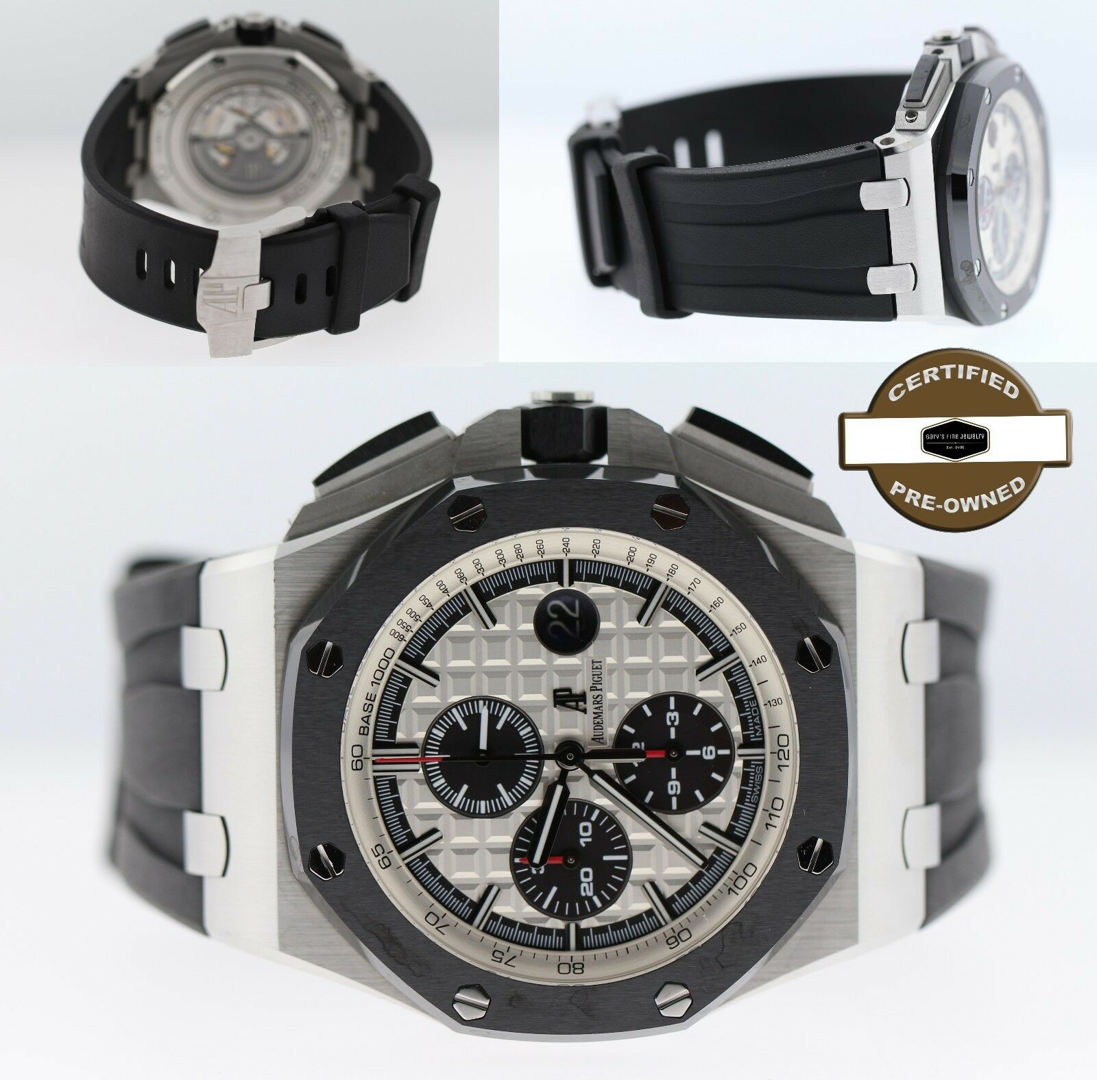 AP Audemars Piguet Royal Oak Offshore Steel & Ceramic Watch Rubber Strap