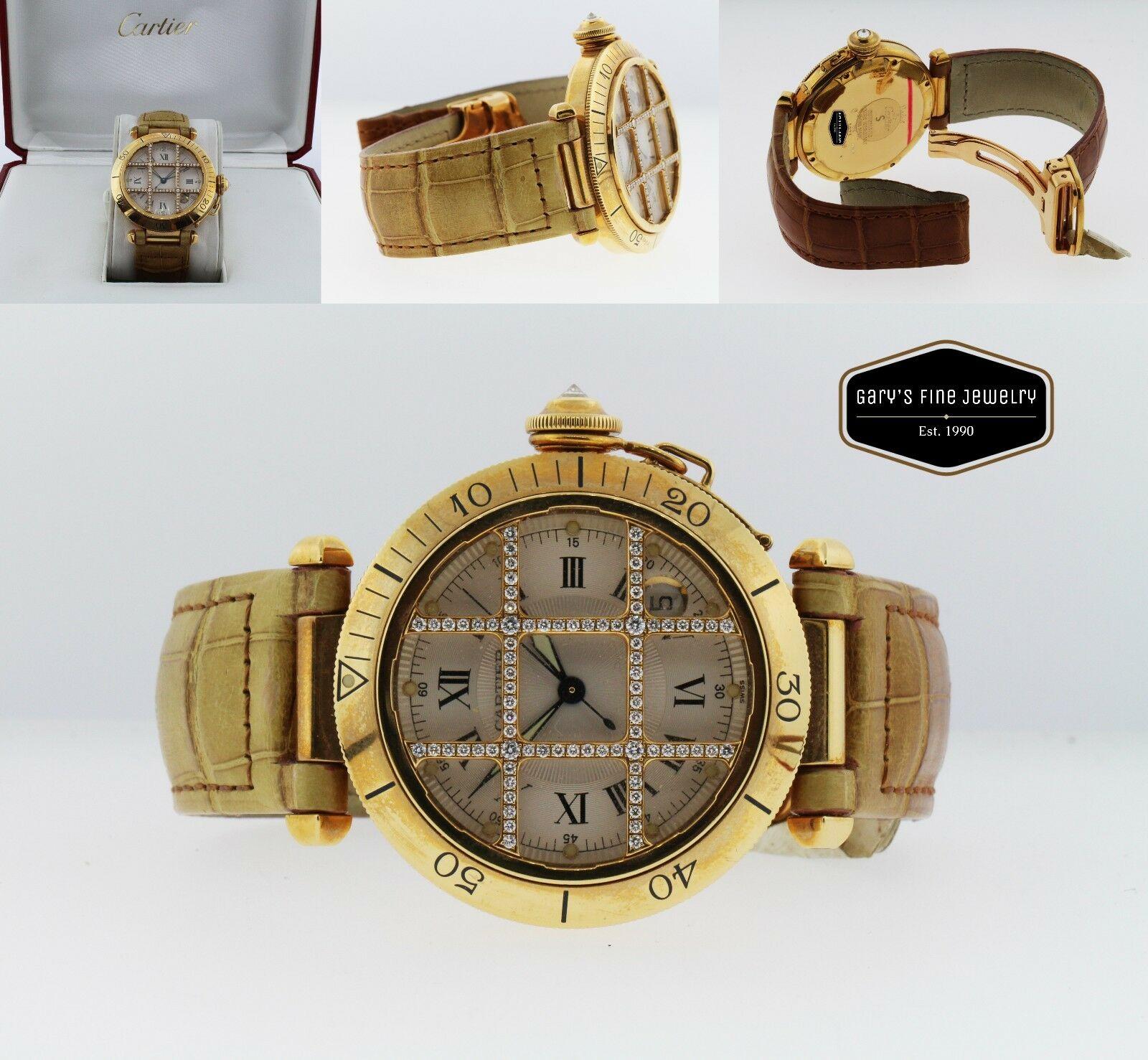 CARTIER Pasha 38MM Model 1023 18Kt Yellow Gold Men's Watch w/ OG Diamond Cage