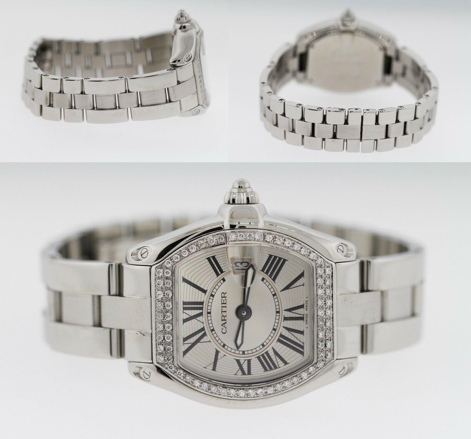 Cartier Roadster Stainless Steel Diamond Bezel 1ct Ladies' 35mmx37mm Watch