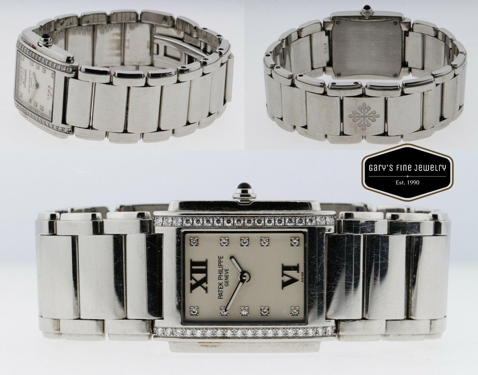 Patek Philippe 4910/10 Twenty 4 Factory Diamond Steel 25mm Ladies Watch MINT