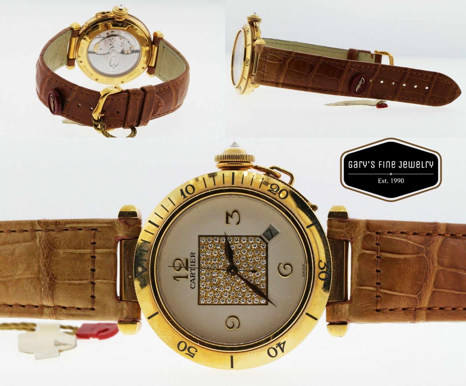CARTIER Pasha 38MM Model 2392 18Kt Yellow Gold Men's Watch w/ OG Diamond Dial