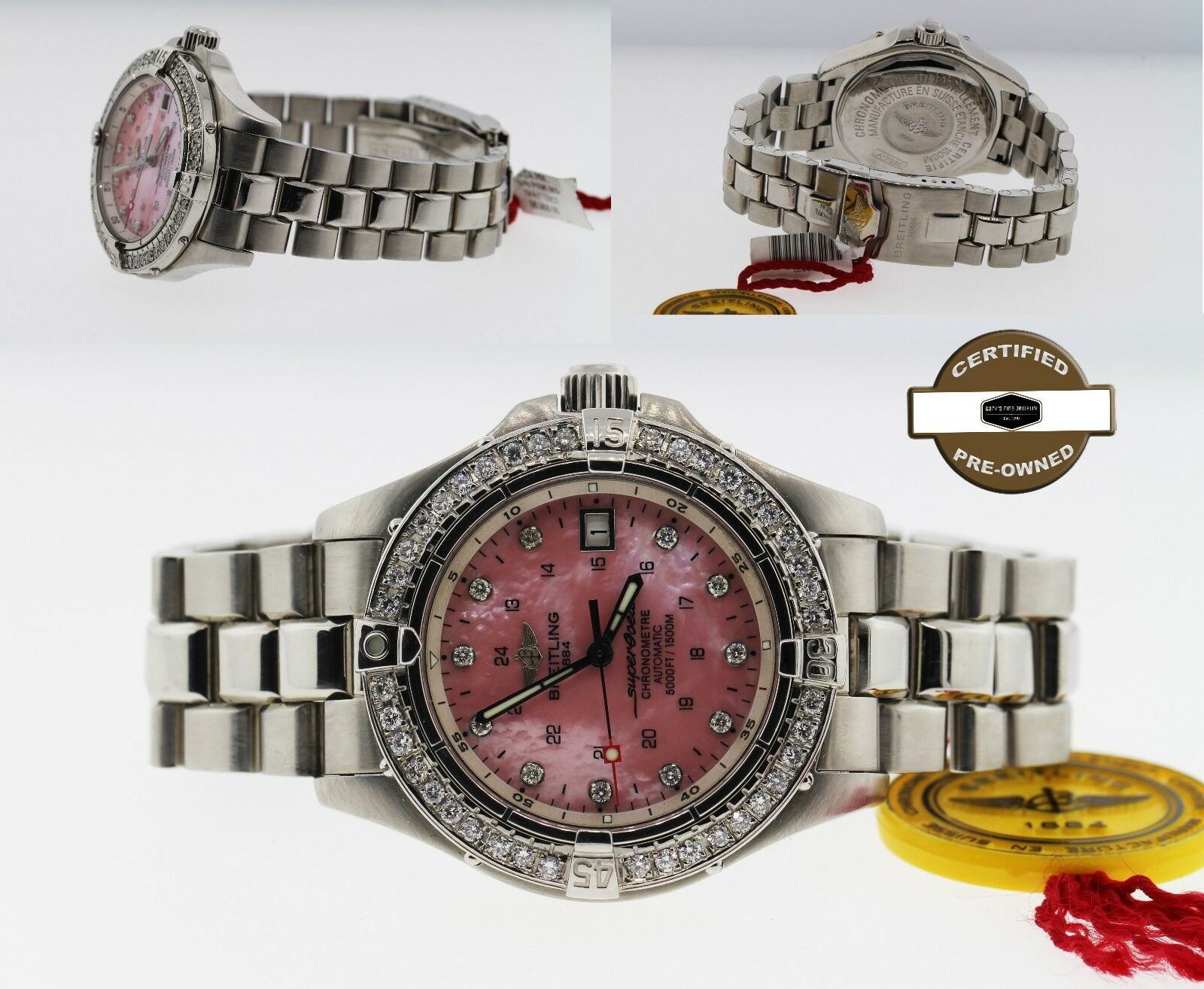 Breitling Superocean A17360 Automatic Stainless Steel Custom 1.5 CT Watch