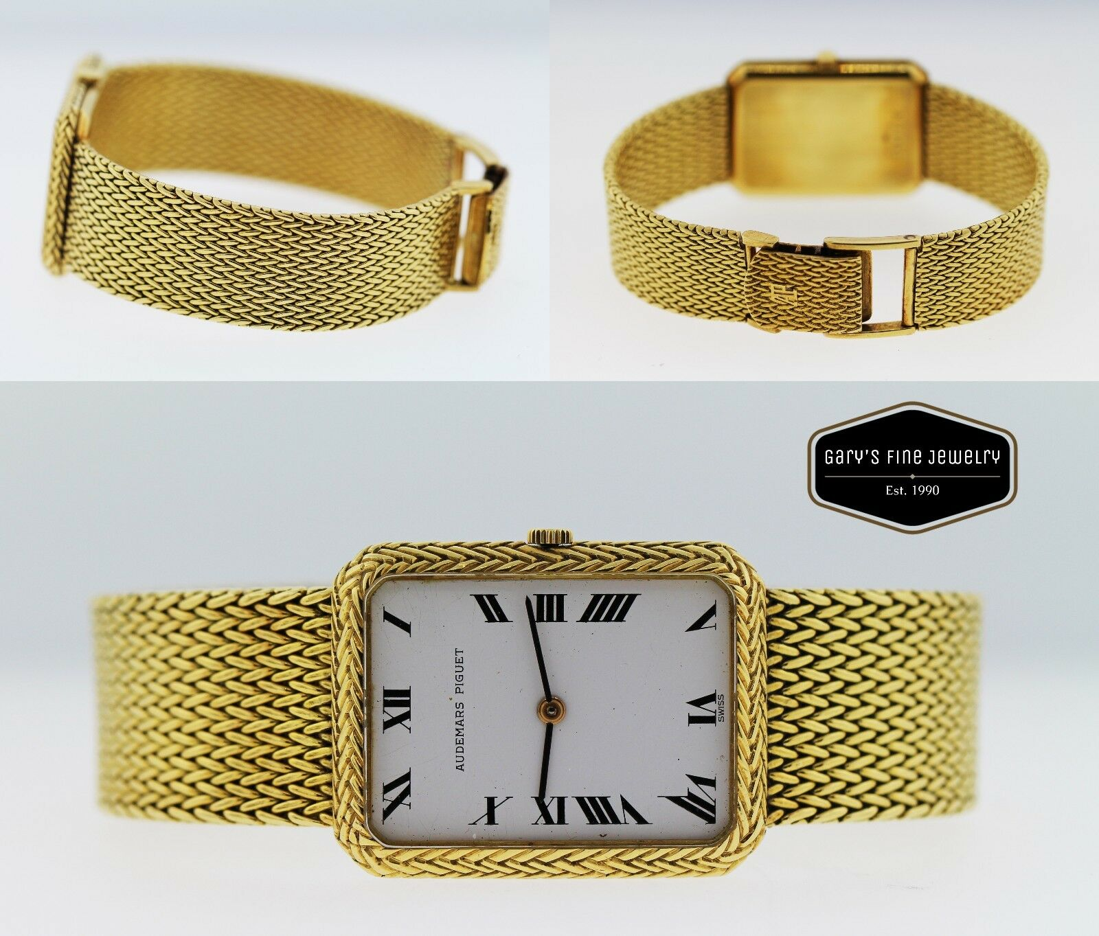 Audemars Piguet 18K Yellow Gold Unisex Watch Mesh Bracelet 24x32mm