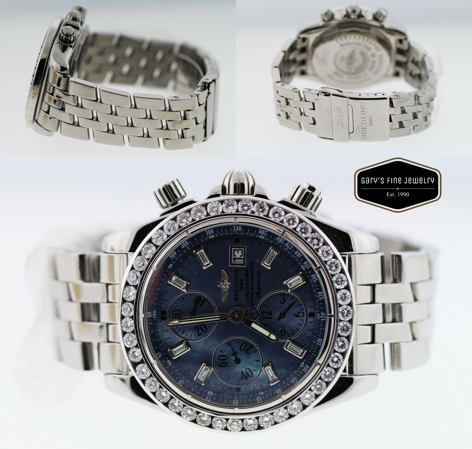 Breitling Evolution Chronomat A13356 SS 43mm Custom Dia Bezel/ Blue MOP Dial