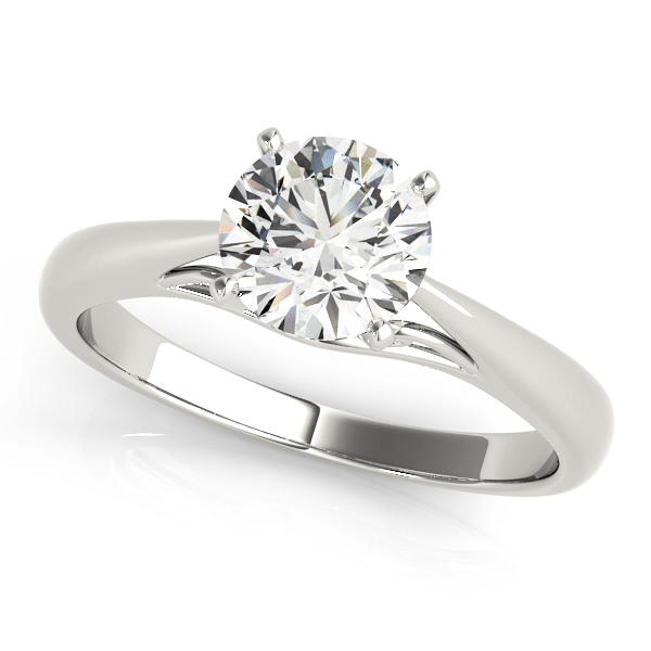 Madeline Diamond Solitaire Ribbon Cathedral Engagement Ring (Platinum)