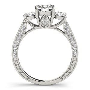 Tabitha Luxe Diamond 3-Stone Shared Prong Cathedral Engagement Ring (Platinum)