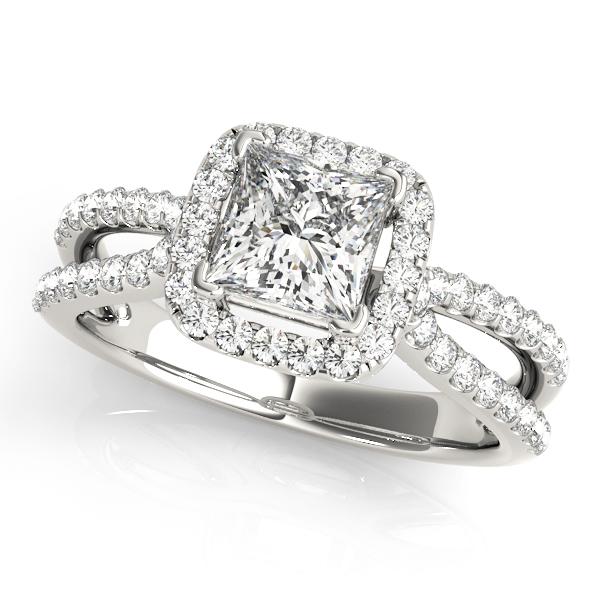 Deandra Diamond Cushion Halo Split Shoulder Engagement Ring  (Platinum)