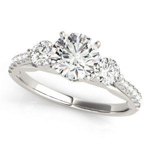 Octavia Diamond 3-Stone Floating Cathedral Engagement Ring (Platinum)