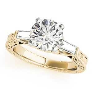 Ashley Diamond 3-Stone Antique Scroll Cathedral Engagement Ring (18k Yellow Gold)
