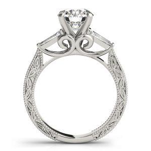 Raelynn Diamond Baguette 3-Stone Engraved Cathedral Engagement Ring  (Platinum)