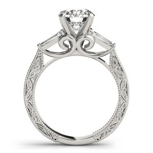 Ashley Diamond 3-Stone Antique Scroll Cathedral Engagement Ring (Platinum)