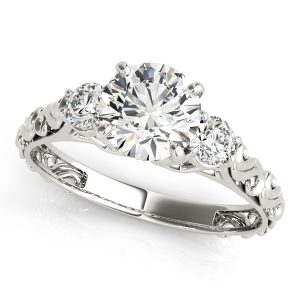 Lydia Diamond 3-Stone Antique Scroll Cathedral Engagement Ring (Platinum)
