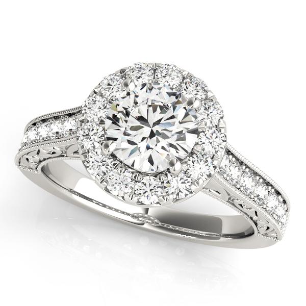Arabella Diamond Halo Antique Style Engraved Engagement Ring (Platinum)