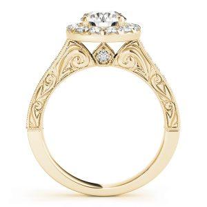 Arabella Diamond Halo Antique Style Engraved Engagement Ring (18k Yellow Gold)
