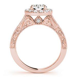 Arabella Diamond Halo Antique Style Engraved Engagement Ring (18k Rose Gold)