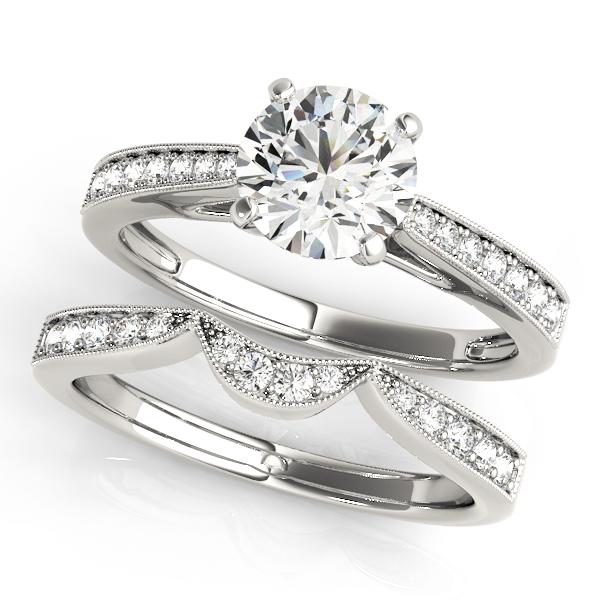 Harlow Diamond Classic Milgrain Cathedral Engagement Ring (Platinum)