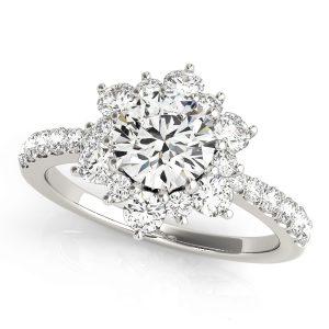 Azalea Diamond Flower Cluster Engagement Ring (Platinum)