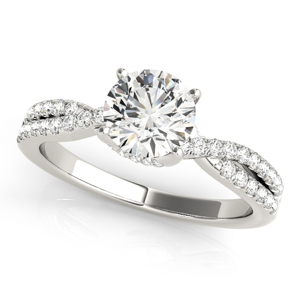Cynthia Diamond Asymmetrical Twist Engagement Ring (Platinum)