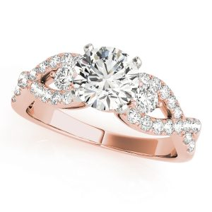 Alora Diamond Infinity Twist 3-Stone Engagement Ring (18k Rose Gold)