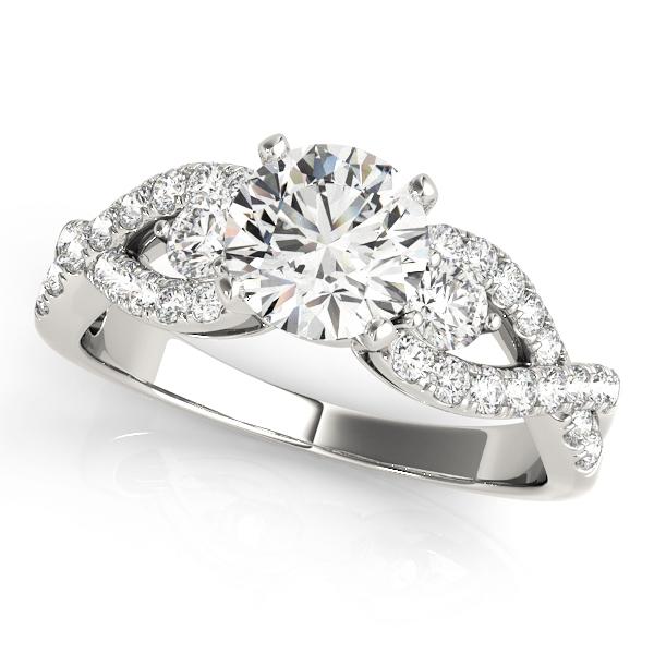 Alora Diamond Infinity Twist 3-Stone Engagement Ring (Platinum)