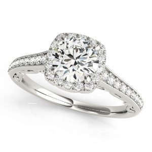 Audrey Diamond Halo Cathedral Scroll Engagement Ring (Platinum)