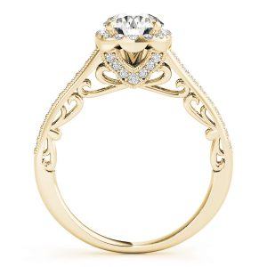 Audrey Diamond Halo Cathedral Scroll Engagement Ring (18k Yellow Gold)