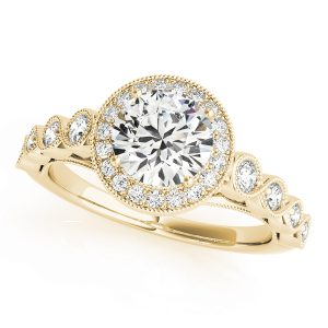 Allegra Floating Diamond Halo Double Cathedral Engagement Ring (18k Yellow Gold)