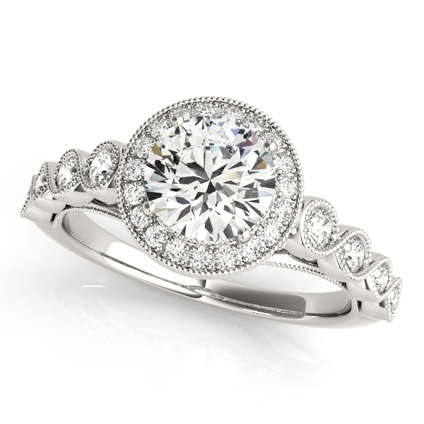 Allegra Floating Diamond Halo Double Cathedral Engagement Ring (Platinum)