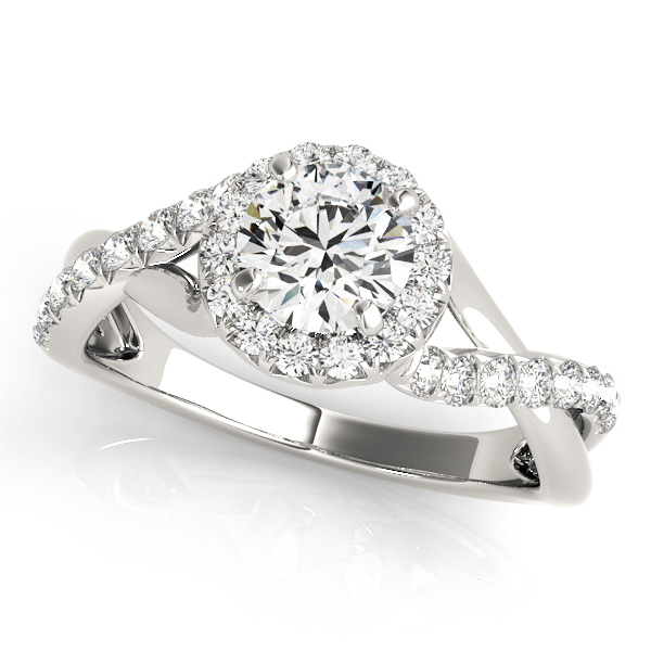 Mila Diamond Solitaire Twisted Cathedral Halo Engagement Ring (Platinum)