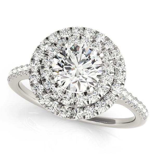 Zoe Vintage Style Diamond Double Halo Engagement Ring (Platinum)