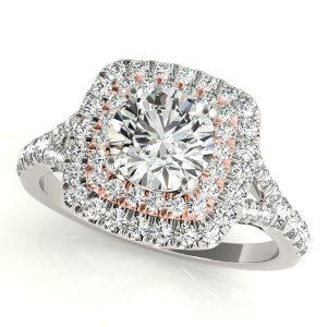 Cassandra Diamond Layered Halo Engagement Ring (18k Rose Gold)