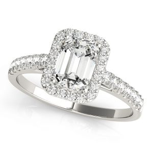 Heather Diamond Emerald Cut Halo Cathedral Engagement Ring  (Platinum)