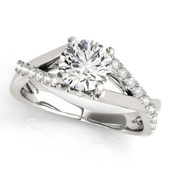 Olivia Diamond Asymmetrical Cathedral Fleur de lis Engagement Ring (Platinum)