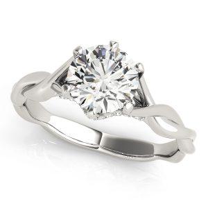 Ariella Diamond Solitaire Entwined Trellis Engagement Ring (Platinum)