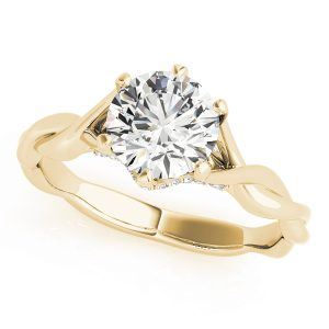 Ariella Diamond Solitaire Entwined Trellis Engagement Ring (18k Yellow Gold)