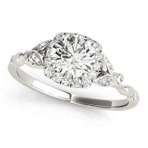 Faye Vintage Style Diamond Halo Leaf & Vine Cathedral Engagement Ring (Platinum)