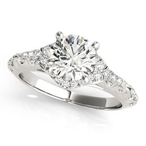 Brielle Diamond Halo Vintage Scroll Cathedral Engagement Ring  (Platinum)
