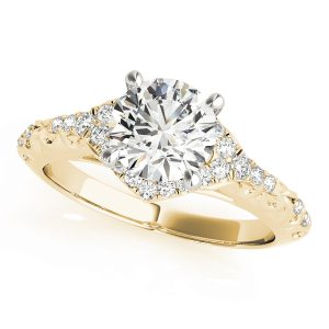Brielle Diamond Halo Vintage Scroll Cathedral Engagement Ring  (18k Yellow Gold)