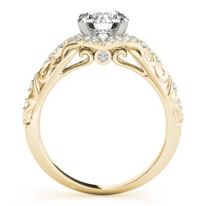 Camilla Diamond Halo Vintage Scroll Cathedral Engagement Ring (18k Yellow Gold)