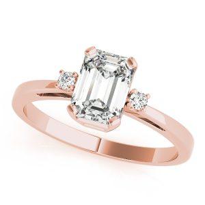 Abigail Emerald Cut Diamond 3-Stone Engagement Ring (18k Rose Gold)