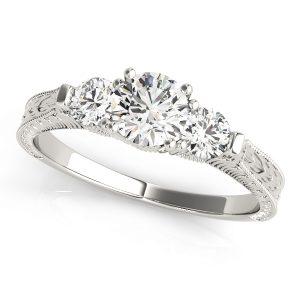 Josephine Diamond 3-Stone Art Deco Milgrain Engagement Ring (Platinum)