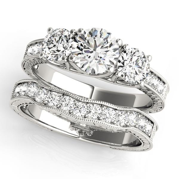 Adelaide Diamond 3-Stone Engraved Milgrain Vintage Engagement Ring (Platinum)