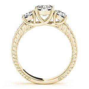 Adelaide Diamond 3-Stone Engraved Milgrain Vintage Engagement Ring (18k Yellow Gold)