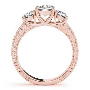 Adelaide Diamond 3-Stone Engraved Milgrain Vintage Engagement Ring (18k Rose Gold)