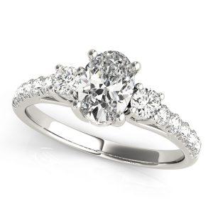 Margot Diamond Oval 3-Stone Ribbon Prong Cathedral Engagement Ring  (Platinum)