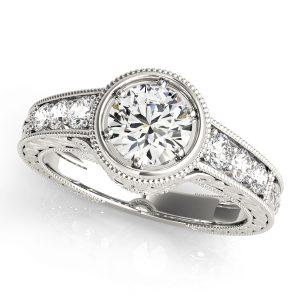 Iris Diamond Bezel Vintage Flower Engraved Engagement Ring (Platinum)
